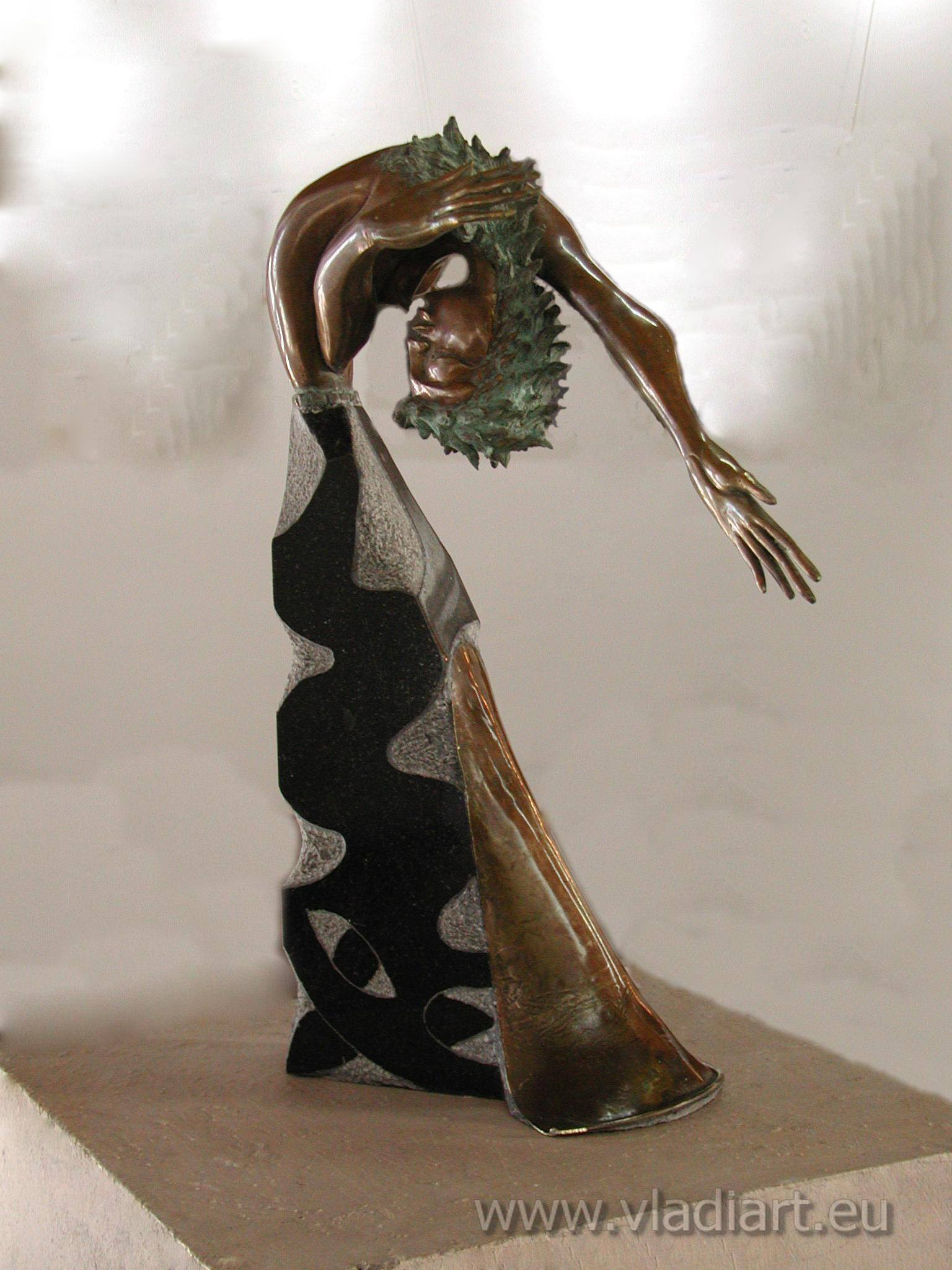 Dancing Woman Sculpture Bronze and Black Marble