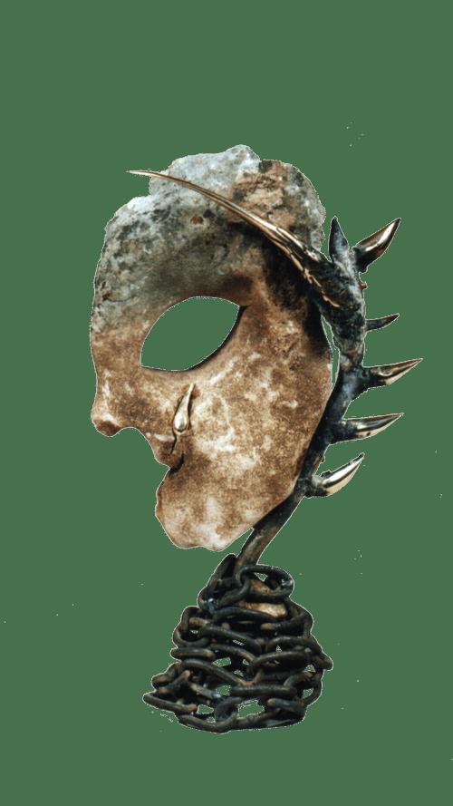 Modern bronze and stone sculpture a human head