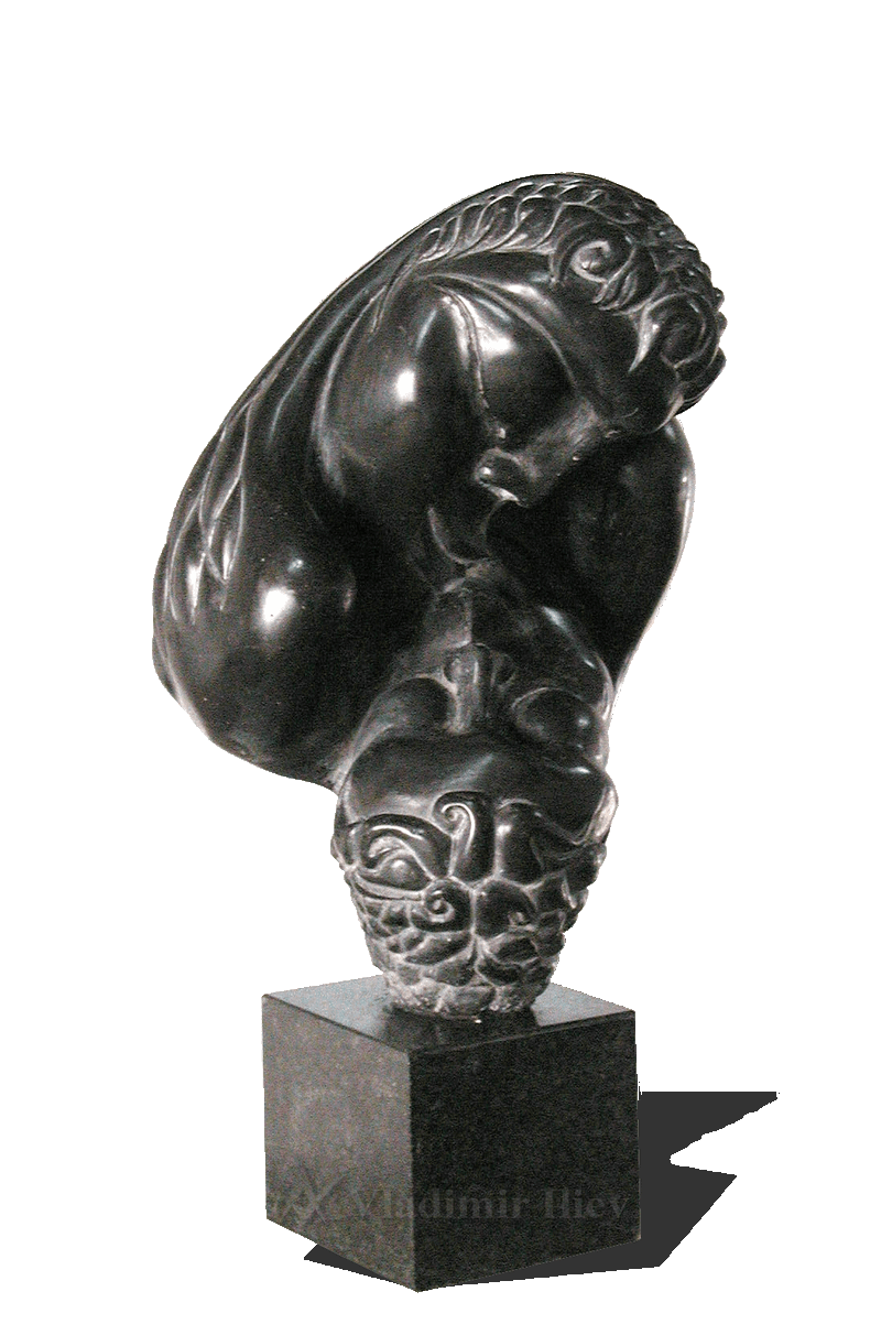 Carved Abstract Black Marble sculpture