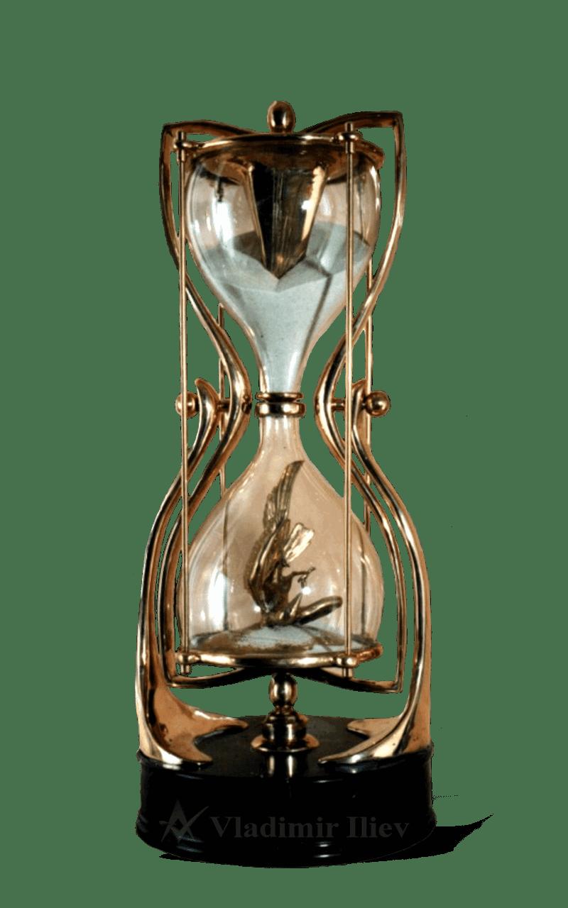 TIME Modern Bronze and Glass sculpture
